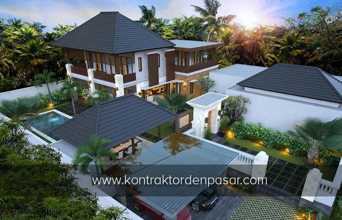 Desain Rumah 2 Lantai Gaya Villa luas 400 m2 Bp Nyoman Pecatu