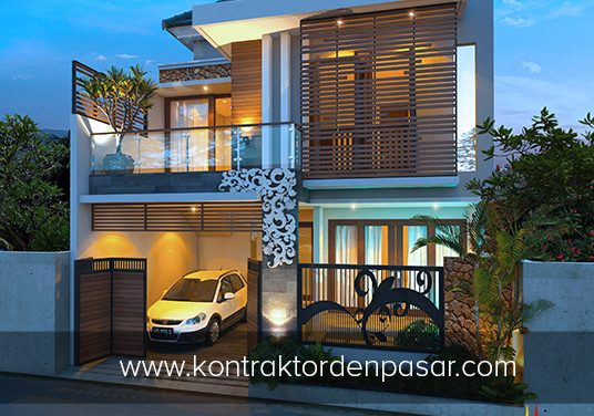 Desain Rumah 2 lantai Luas 150m2 Lebar 8 meter Pak Ricky di Denpasar
