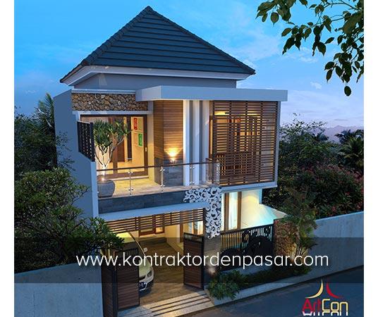Desain Rumah 2 lantai Luas 150m2 Lebar 8 meter Pak Ricky di Denpasar 2