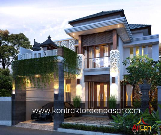 Desain Rumah 2 Lantai 4 Kamar Tidur luas 150 m2 Bali Modern Style
